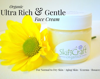 Organic Face Cream - Face Moisturizer w/ Jojoba & Calendula - Ultra Rich and Gentle for Dry - Aging - Eczema - Damaged Skin - 1 oz