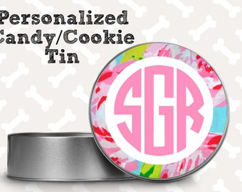 Personalized Cookie Tin, Personalized Candy Tin, Monogrammed Tin, Treat Tin
