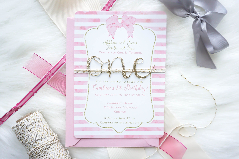 Handmade First birthday invitation, Girl 1st Birthday invite, Baby ...