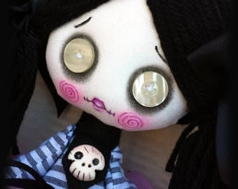 Creepy cute goth cloth doll Vanessa handmade zombie doll with big button eyes and skulls. Goth rag doll. Goth cloth doll. Zombie rag doll
