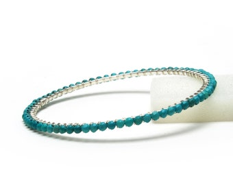 Genuine Turquoise Bracelet - Sterling Silver Wire Wrapped Turquoise Bangle - Handmade Turquoise Jewelry - December Birthstone Jewelry