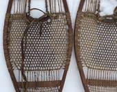 Antique Snowshoes, fine weave gut or sinew