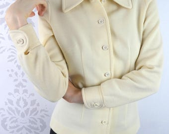 VINTAGE CREAM BLOUSE 1970s Button Down Size Small