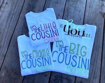 big cousin shirt; cousin shirts; big cousin; I'm going to be a big cousin; I'm the BIG cousin; Im the little cousin; pregnancy announcement