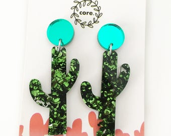 Cactus earrings Dangle laser cut green glitter acrylic