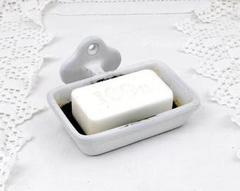 Vintage French Wall Hanging Cast Iron White Shabby Rusty Enamel Metal Soap Dish, Country Chateau Shabby Chic Bathroom, Enamelware Decor