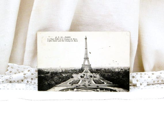 Antique French Black and White Postcard View of The Eiffel Tower and the Champ de Mars in Paris Posted in 1936, Parisian, Deltiology