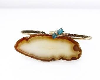 Raw Blue Tourmaline Cuff Bracelet / October Birthstone Rough Natural Tourmaline Jewelry Gift for Her / Afghan Blue Gemstone Bracelet
