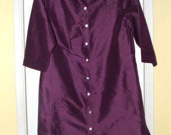 Elegant Deep Purple Silk Dress Shirt Duster Size Large Embroidered