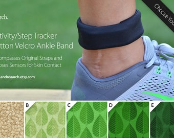 Nature Print Activity/Step Tracker 100% Cotton Velcro Ankle Band – Encompasses Original Straps and Exposes Sensors for Skin Contact