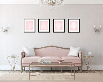 Coral Print Set in Millennial Pink, Coastal Wall Art, Trendy Art, Pink Coral, Beach Decor, Assorted Corals in Acid Washed Millennial Pink