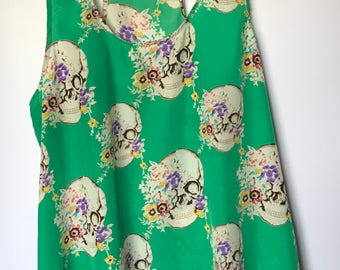 Umgee jade skulls with flowers tank Large