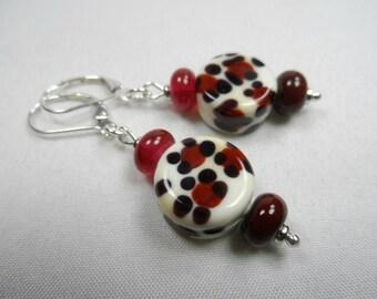 "Walk-on-the-Wild-Side Sterling Silver Leverback Beaded Earrings in Cheetah Motif Lampwork Beads - 2"" length"