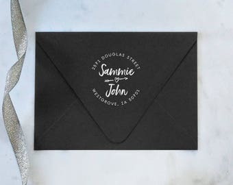 Brush Font Address Stamp – Wedding Invitation Stamp – Couple Address Stamp – Wooden Address Stamp