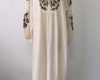 Hand Embroidered Dress Cotton Maxi Dress, Mexican Long Dress, Boho Dress
