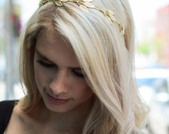 Gold Metal Leaf Headband