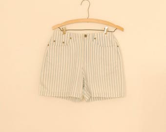 Light Blue and White Striped Denim Shorts - 1980s