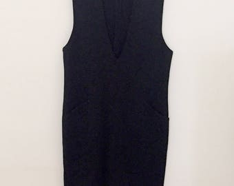 Black Knit Pinafore Dress - Early 90s