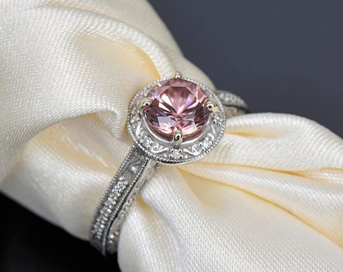 UPRISING SALE! Gorgeous Rose Pink Zircon and Diamond Scroll Ring in 14kt White Gold 1.95 tcw.