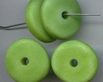 18 Vintage Washed Green Matte Acrylic 7x24mm. Nugget Disc Spacer Beads 5717
