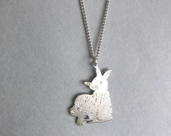 Rabbit Charm Necklace, Hand Engraved