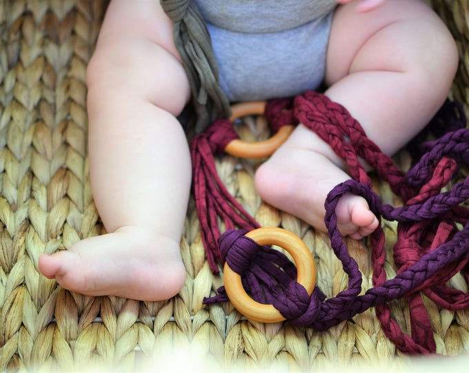 Plum Tug & Pull Teething Tassel Necklace | Purple Green Teething Necklace | Fall Color Tassel Necklace