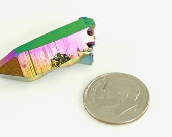 Flame Aura Quartz - Rainbow Quartz - Titanium Aura Quartz - Rainbow Quartz Point - Titanium Aura Quartz Crystal - Flame Aura Quartz Point