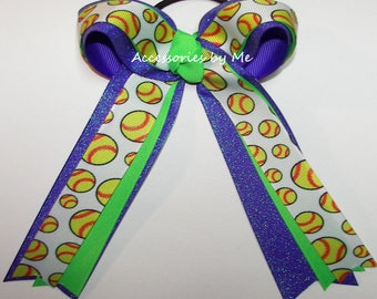 Bulk Softball Bow, Green Purple Ribbon Bow, Softball Neon Green Purple Glitter Streamers, Softball Player Team Gift Hair Bows, Softball Ties