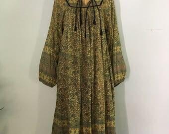 Indian Floral Print Gauze Cotton Bohemian Hippie Gypsy Festival Maxi Dress M