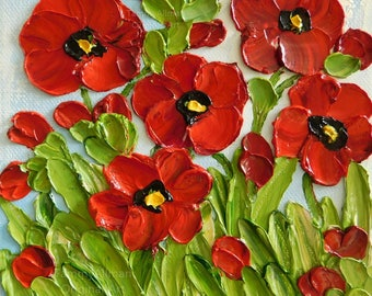 Poppy Oil Impasto Painting, Small Poppy Painting, Red Poppies