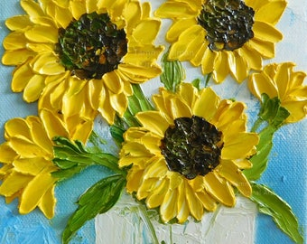 Abstract Sunflower Oil Impasto Painting  Sunflower Original Painting,