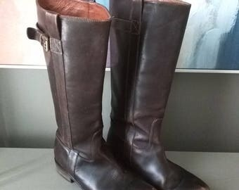 Vintage Boots Brown Leather Knee High Boots / Tall Riding Flat-Heeled Boots