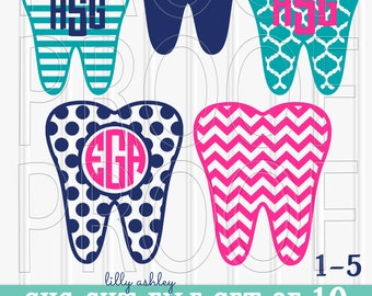 Monogram SVG File set for monograms includes 10 tooth cut files SVG/png/jpg-Letters Not Included- hygenist svg tooth svg tooth monogram