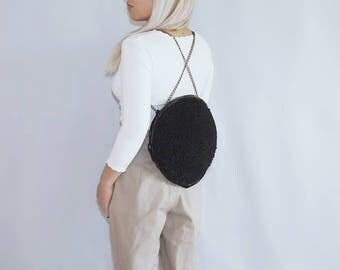 UMBRA lamb fur backpack knapsack clutch purse handbag , leather suede furry black