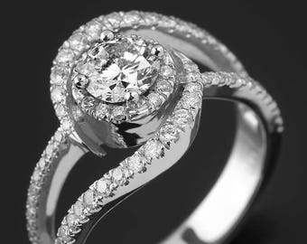 Engagement Ring, twisted ring, twisted diamond ring, white gold, 0.45ct center diamond ring, unniversery ring, uniqe engagement ring, curved
