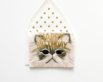 Handsome Cat card with Happy Birthday gold