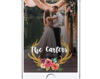 Rustic Wedding Geofilter, Gold Antlers Snapchat Filter, Wedding Snapchat Filter Custom, Personalied Wedding Geofilter, Unique Geofilter