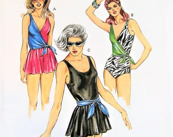 80s FAB Kwik Sew 1429 Swimsuits Bathing Suit Beachwear Pattern 3 Styles Size 16 to 22 Bust 40 to 45 Vintage Sewing Pattern UNCUT