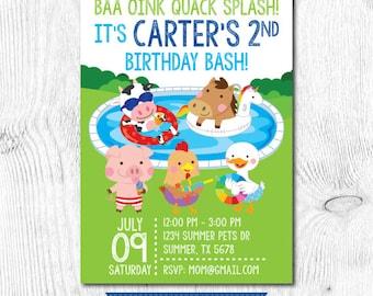 Pool Birthday Invitation, Pool Birthday Party Invitation, Summer Birthday Invitation, Farm Invitation, Printable Invitation, 2 Options
