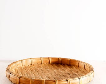 Bamboo Woven Tray Basket | Round Midcentury Basket | Vintage Wall Basket | Bohemian Coffee Table Tray