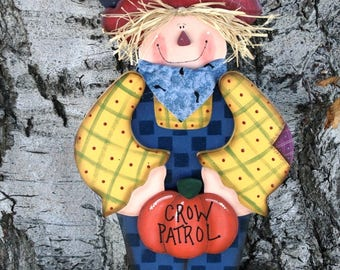 Fall - Autumn Wood Scarecrow with Pumpkin and Crow - Thanksgiving Yard Art - Welcome Decoration