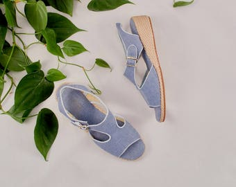 denim espadrilles / espadrille wedges / denim sandals / 9 - 40 / minimalist / retro sandals / low wedge sandals / chambray sandal / blue