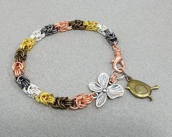 Chainmaille Byzantine bracelet Charmed Bird Flower Chain Mail Bracelets