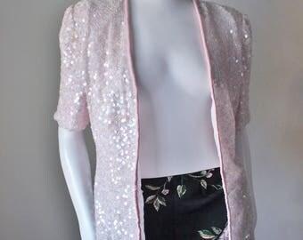 Pink sequin jacket, cardigan, pastel, spring, sequin, vintage, silk, beaded, short sleeve, Laurence Kazar, 80s.