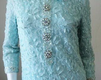 Vintage shift dress, sequins beads, 1960s, powder blue, heavily beaded, sequins, handmade, DePaul brand. Authentic true vintage, size 10.