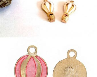 Fine and pretty hot air balloon gold tone enameled pink or white choice 22x10mm