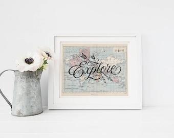 World Map PRINTABLE Art - Explore - Graduation gift - Horizontal Art Print - Graduation Gift - Inspirational Print - Digital Art - SKU:2708