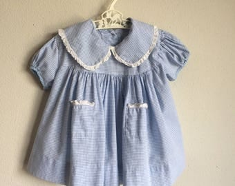 Vintage 30s Baby Dress - 1930s 1940s 40s 50s Infant Baby Girl Baby Blue Gingham White Lace Trim Cotton Precious Dress -  6-12 Months Size