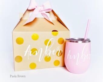 Wine Tumbler Bridesmaid Gift - Bachelorette Gift -Custom Personalized Monogrammed Tumbler With Lid, like a swig Christmas Gift 1