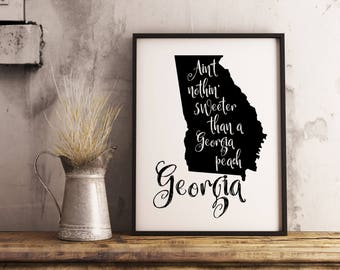 Georgia state print, Georgia Peach, Georgia map printable, Georgia poster, Georgia sign, Georgia wall art, Farmhouse decor, Instant Download
